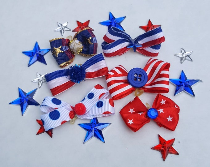 Patriotic Dog Bows 6 Top Knot Bows - Show Your American Pride