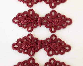 "Ornate, deep red frog closures, 6"", set of six"