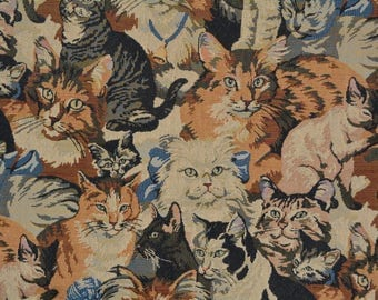 Vintage CAT tapestry fabric UPHOLSTERY weight remnant tote bag handbag pillow fabric