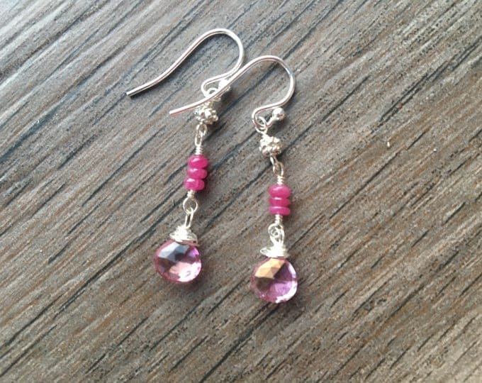 Pink Topaz Smooth Ruby Bali Silver Dangle Earrings with Messy Wirewraps