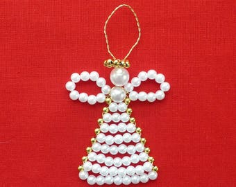 Pearly beaded angel ornament