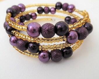 Mothers Day Gift, Purple Bracelet, Plum Wrap Bracelet, One Size Bracelet, Plus Size Bracelet, Pearl Bracelet, Wedding Jewelry, Bridesmaids