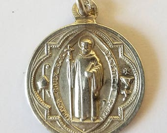 Antique French St Benedict Medal Pendant Sterling Silver