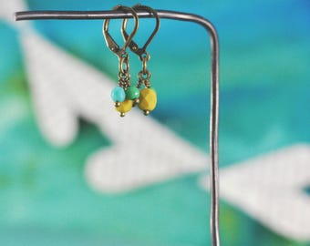 Lever Back Earrings Pair No. 1 {Antique Bronze + Czech Glass Beads}