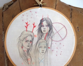 The Horae, an embroidered drawing