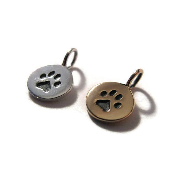 Sterling Silver or Natural Bronze Paw Print Charm Pawprint Pendant Disk, Little Pawprint Charm for Making Jewelry (CH 682)