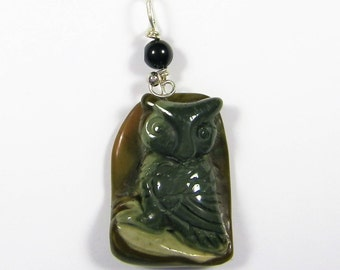 Sterling Silver Wire-Wrapped Carved Succor Creek Jasper OWL Gemstone Pendant...Handmade USA