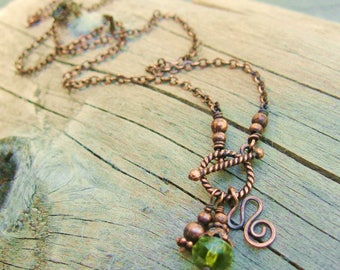 Copper and Czech Picasso Glass Lariat style front toggle necklace with hammered copper charm dangles