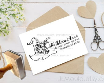 Custom Rubber Stamp Return Address Wicked Wreath Happy Halloween Monogram Modern Family Last name Personalized rubber stamp JLMould 1076