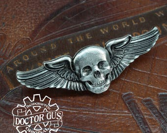 Airship Pilot Wings - Skull Wings - Steampunk Pilot Wings - Handcrafted Cosplay Accessories by Doctor Gus - Rank Badge Insignia - wh40k
