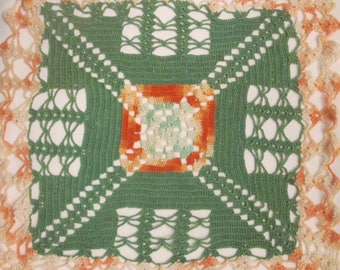 Vintage Hand Crocheted Doily - Green and Orange Square Doily - OOAK