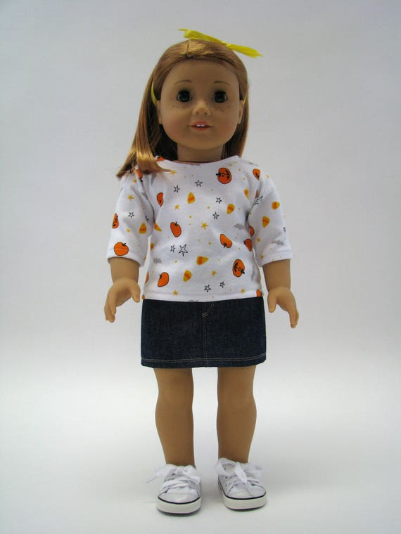 """18 Inch Doll Clothes - American Made Doll Clothes - 18 Inch Doll Top - Halloween Outfit - 18"""" Doll Clothes - AG Doll - Holiday Top"""