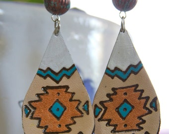 Turquoise & Copper Aztec Pattern Leather Earrings
