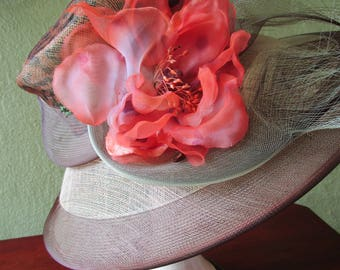 Leopard Marzi Italy Sinamay Straw Sheer Hat Neiman Marcus Khaki Orange Silk  Sun Derby Church Easter