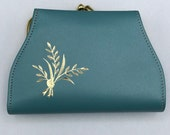 Minty Vintage 60s Lady Buxton Turquoise Leather Wallet Gold Embossed with Large Change Purse