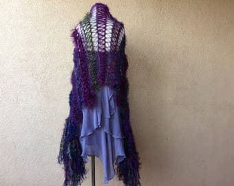 Purple Accessories Purple Scarf Hand Knit Scarf w Blue, Green, Red Gift for Her Anniversary Gift Wife Gift for Wife Purple Wrap