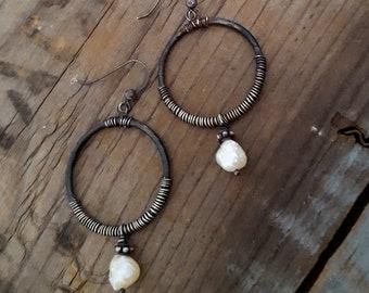 Rustic Pearl Hoop Earrings, White Pearl Black Hoop, Oxidized Sterling Silver Hoop Earrings, Artisan Earrings, Pearl Dangle, Baroque Pearl