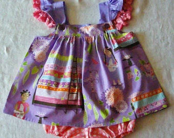 SALE!  12M Princess & the Pea Dress with Diaper Cover READY to Ship Flutter Sleeve dress with tassels