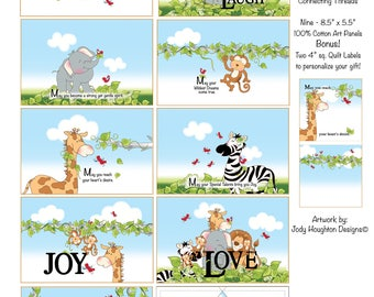 Jungle Animal Baby Blessings Art Panel Set