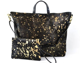 Nicole - Handmade Black & Gold Hair On Hide Leather Tote Bag With Detachable Clutch AW17