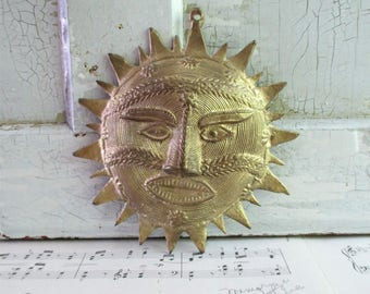 Vintage Brass Hanging Sun