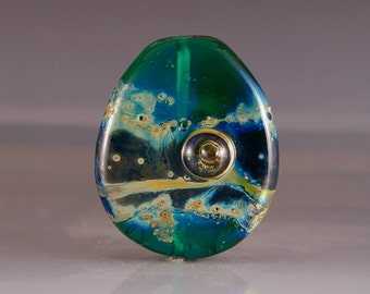 Lampwork Glass Focal Bead - tab bead in green and blue