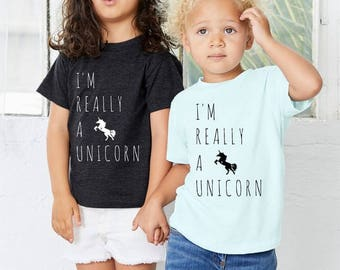 I'm Really a Unicorn Toddler Tee shirt t shirt  screenprint Choose Size and color