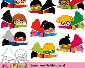 Flying superhero clipart / Commercial use graphics Superhero Fly Multiracial - kids printable clipart - cute clip art boys girls