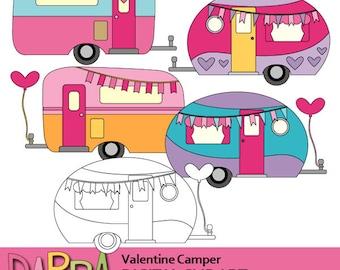 Valentine's day clipart / Valentine camper clip art / RV caravan transportation clipart download, digital images, commercial use