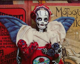 Valentine's Skeleton Doll Day of the Dead Greta the Gothic Horror Doll repurposed altered Art Doll Hand painted Dia de los Muertes Muneca