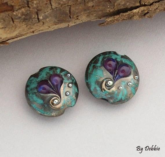 Lampwork Beads Glass Beads Lampwork Earrings Heart Beads Earrings Jewelry Supplies Bead Beading Supplies Rustic Beads Ocean Debbie Sanders