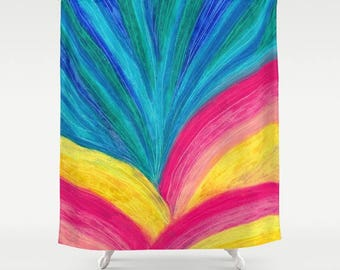 artist designed fabric shower curtain- colorful modern abstract design-blue-pink-yellow-home decor-bathroom decor