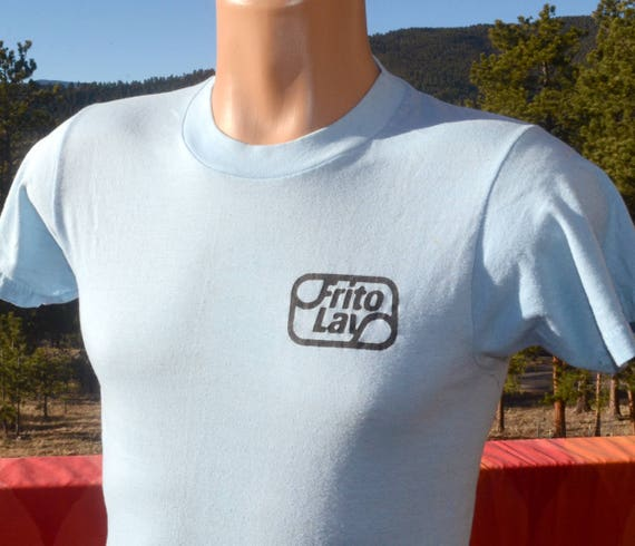 vintage 80s t-shirt FRITO LAY snacks chips food soft thin blue Small Medium 70s screen stars