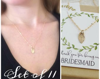 Tiny Gold Leaf necklace, bridesmaid necklace set of 11 gold necklaces, flower girl, junior bridesmaid gift spring autumn wedding jewelry set