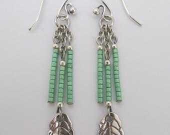 Seed Bead Leaf Charm Dangle Earrings - Green