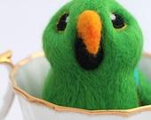 Green Eclectus Parrot Needle Felted Bird, Felt Bird Ornament