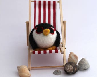 Limited Edition Red Needle Felted Penguin Super Cool Penguin with Sunglasses In Deck Chair
