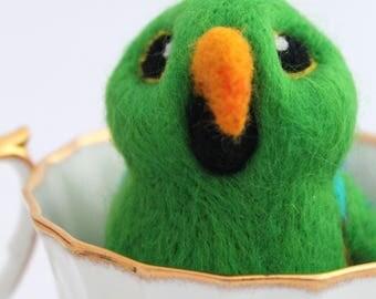 Green Eclectus Parrot Needle Felted Bird