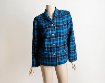 Vintage Pendleton Coat - Royal Blue Dark Plaid 49er Style Jacket - Gold Buttons - Wool Coat - Small Medium