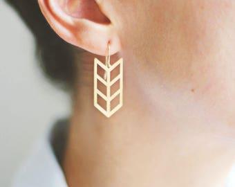 Triple Chevron Arrow Earrings | Brass Earrings | 14k Gold Filled Earrings | Sterling Silver Earrings | Chevron Earrings