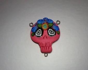 Festive pink Skull, pendant