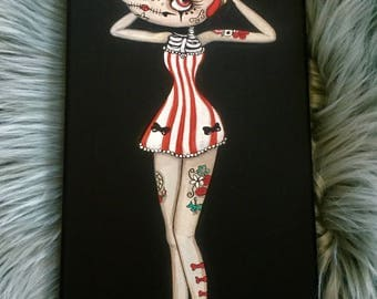 Candy Apple pinup Tattoo Wall Art ---Tattooed sugarskull Girl original painting  6 x 12