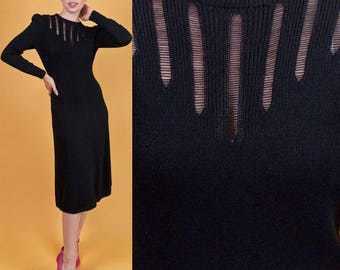 ST JOHN Vintage 1970s Vtg 70s Black Knit Day to Night Cocktail Dress + Details xs/s Small