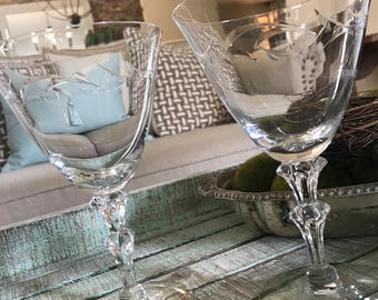 Tiffin Franciscan Crystal Water Goblet or Large Wine Glass Linda Pattern Farmhouse Cottage Wedding TYCAALAK