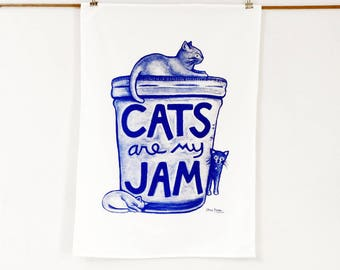 Cat Tea Towel, foodie gift, christmas cat lover gift, cat lady hostess gift, teacher gift, dish towel funny, white elephant co-worker gift