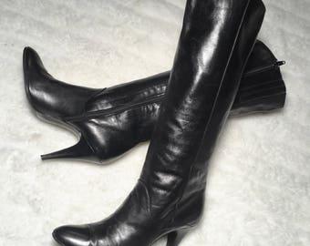 Vintage 80s Halston black leather stiletto zip boots 8