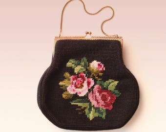 Vintage embroidered floral purse, Black and pink rose bag, Victorian purse, Embroidery purse, Needlepoint tapestry, small bag