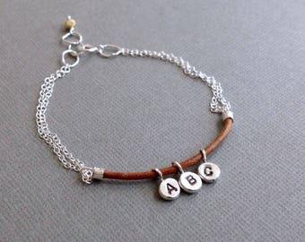 Three Initial Letter Bracelet - Monogram Bracelet - Sterling Silver Stamped Bracelet - Personalized Bracelet - Tan Leather Braclet