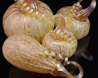 Blown Glass Pumpkins in Ivory White - multiple sizes/shapes