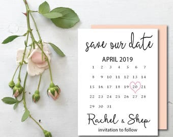 Save the Date Template | Wedding Save the date cards | | save the date calendar | heart on date  | engagement card | printable save the date